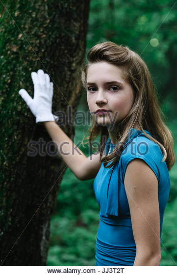 Portrait of a vintage teen 1940's - Stock Image