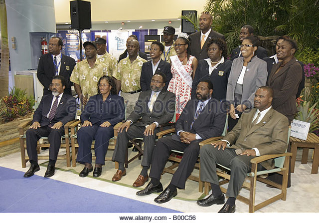 promotion suppliers British Virgin Islands representatives Black man men women Miss BVI officials delegation group - Stock Image