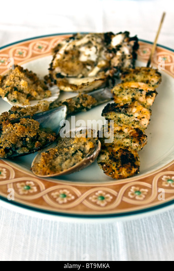 Breadcrumbed Seafood entree - Stock Image