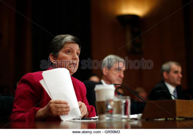 U.S. Homeland Security Secretary Janet Napolitano, Federal Bureau of Investigation (FBI) Director Robert Mueller - Stock Image