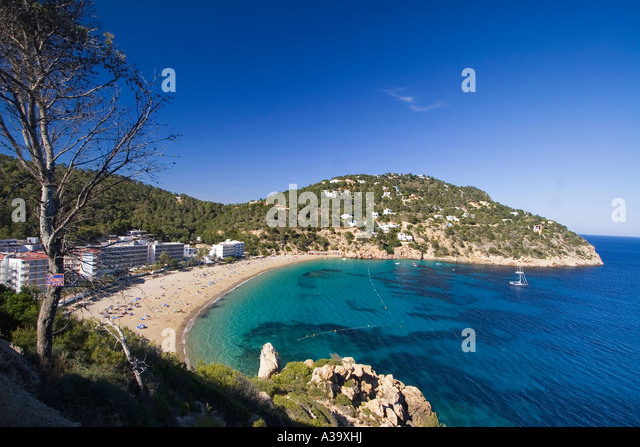Ibiza beach Cala de Sant Vicent beach - Stock Image