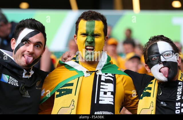 London, UK. 31st October, 2015. New Zealand & Australia Fans New Zealand V Australia New Zealand V Australia, - Stock-Bilder