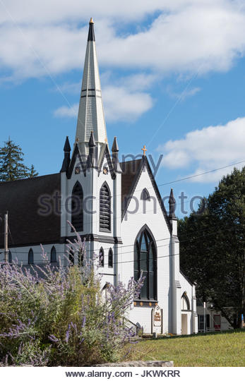 An 2015 archival image of the First Baptist Church of Lebanon, New Hampshire before a devastating fire destroyed - Stock Image