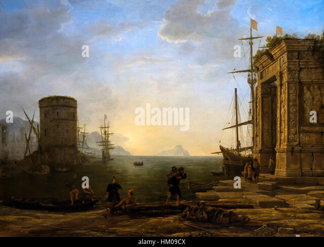 Harbour at Sunrise, by Claude Lorrain, circa 1637-1638, oil on canvas,Rijksmuseum, Amsterdam, Netherlands, Europe, - Stock Image