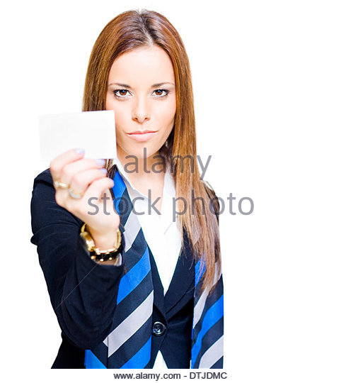 Confident Determined And Ambitious Sales Woman Holding Up A Business Card With Copyspace In A Promotion Advertisement - Stock Image