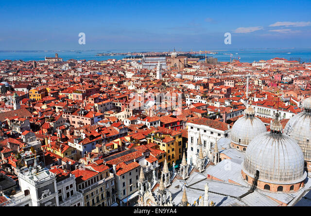 aerial view of the Patriarchal Cathedral Basilica of Saint Mark and the roofs of Venice, Italy - Stock Image
