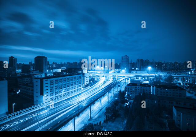 viaduct at dawn with blue tone - Stock Image