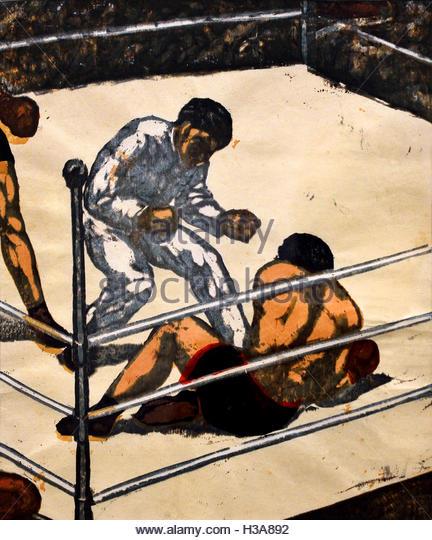 Knock Down ( Boxing -  Boxer ) Onchi Koshiro 1891-1955 Japan ( color woodcut on paper  ) - Stock Image