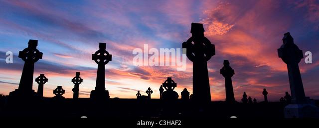 Celtic crosses at sunset, County Sligo, Ireland. - Stock Image