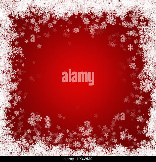 Red Christmas background with snowflakes and stars - Stock Image