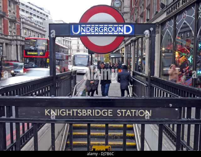 Knightsbridge station London Underground subway England UK - Stock Image