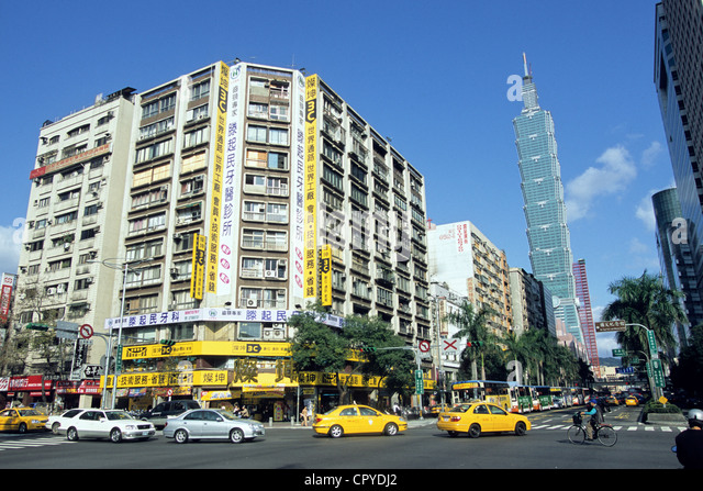 Taiwan Taipei Taipei 101 Tower 508 m height one of highest towers in world by architect company CY Lee and Partner - Stock Image