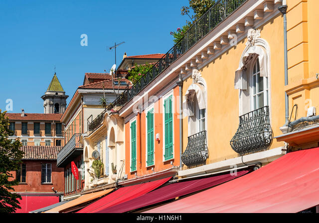Cours Saleya, colorful facades, Cote d' Azur, Provence, Nice City, France - Stock Image
