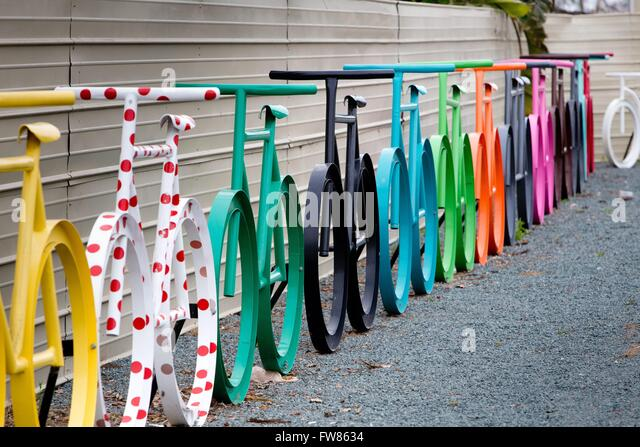 Over-sized colorful bicycles installed at a street in Chula Vista, in March 2016. - Stock-Bilder