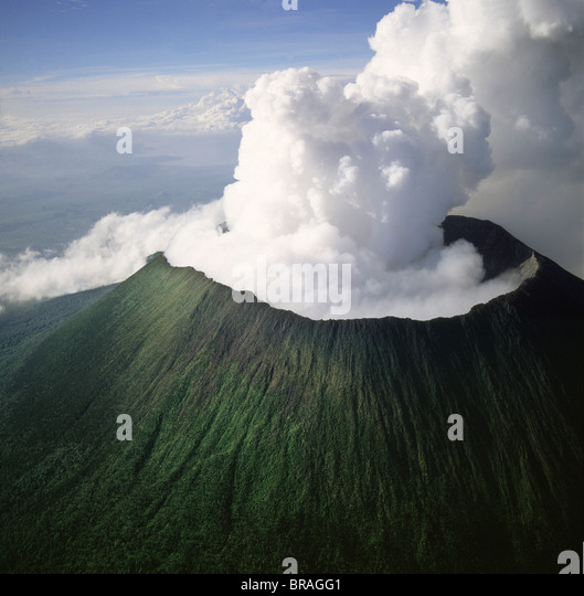 Aerial view of Mount Nyiragongo, an active volcano in the Virunga Mountains in Virunga National Park. - Stock Image