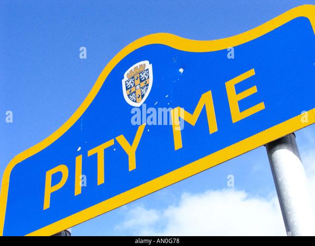 village sign Pity Me Durham - Stock Image