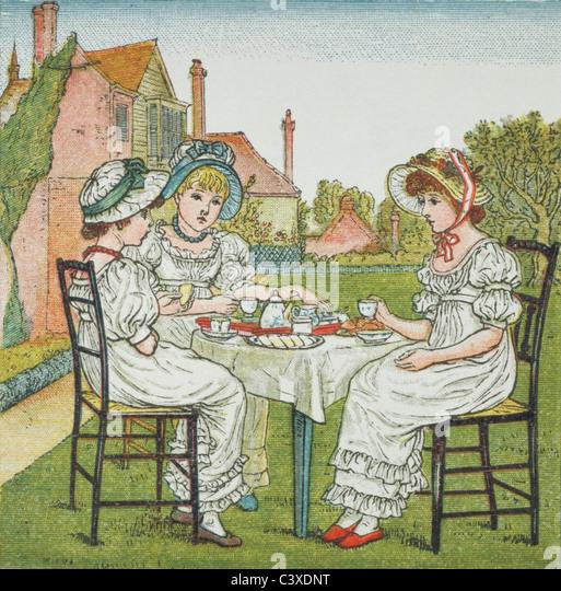 Tea Party illustration, by Kate Greenaway. London, England, late 19th century - Stock-Bilder