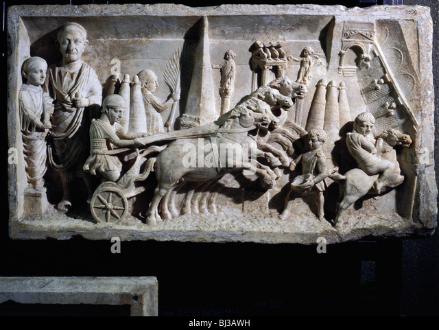 Roman funerary relief for a magistrate responsible for organising chariot races in the circus. Artist: Werner Forman - Stock Image