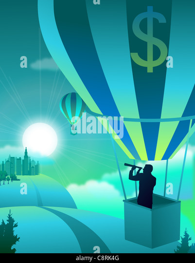 Illustration of man with telescope in parachute - Stock-Bilder