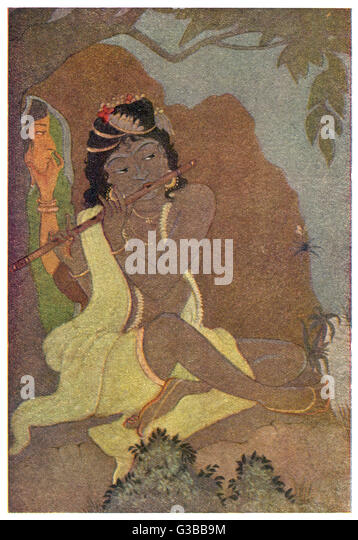 KRISHNA, the 8th avatar of  Vishnu, with RADHA, one of the  gopis (young women of the  cowherd tribe) : whether - Stock Image