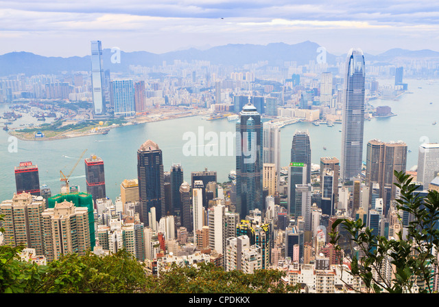 Cityscape from Victoria Peak, Hong Kong, China, Asia - Stock Image