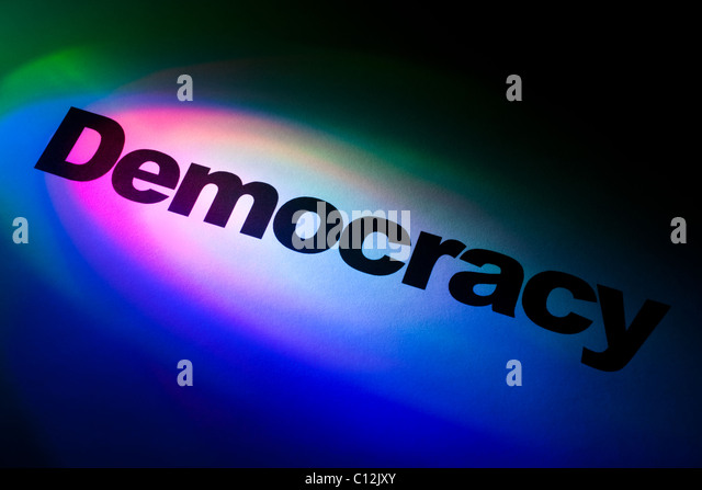 Color light and word of Democracy Change for background - Stock Image