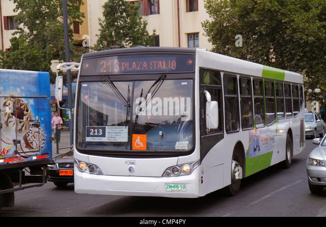 Chile Santiago Providencia Plaza Italia street scene Transantiago bus public transportation traffic Route 213 B7R - Stock Image