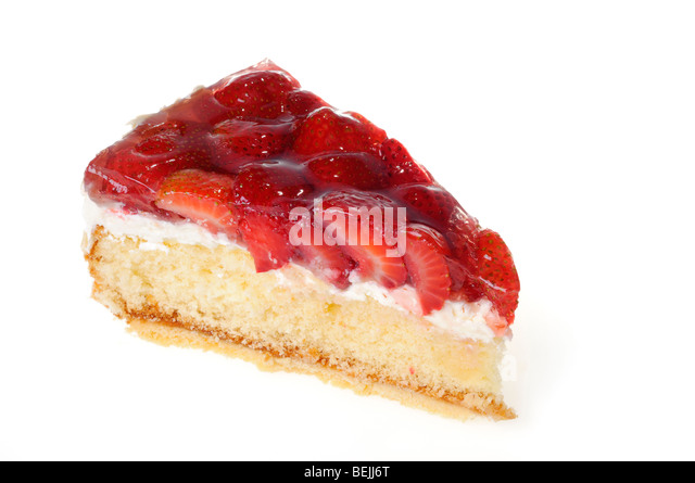 One piece of strawberry cake on white - Stock Image