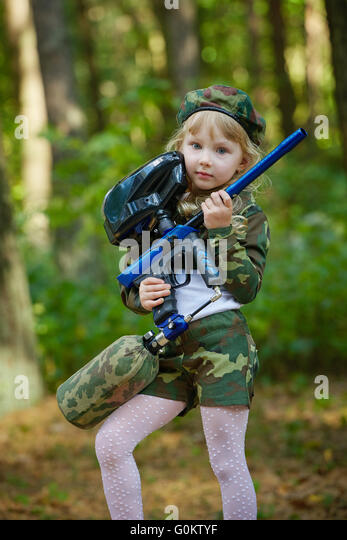 Paintball girls in camo body paint accept. The