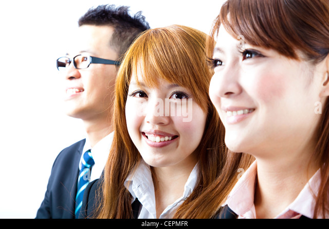 young smiling businesswoman and success business team - Stock Image