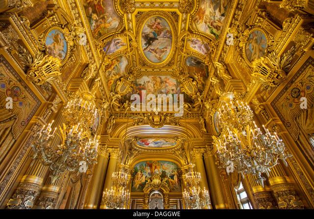 Ceiling detail of the Grand Foyer, Palais Garnier - Opera House, Paris France - Stock Image