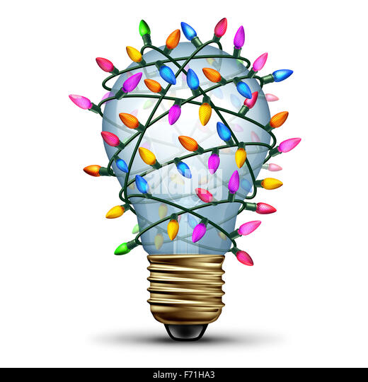 Bright holiday idea winter seasonal concept as a light bulb wrapped with christmas lights as a festive symbol for - Stock-Bilder