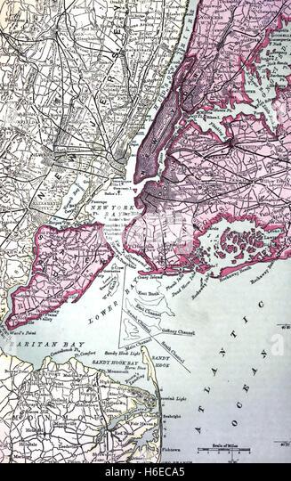 NEW YORK MAP 1921 - Stock Image