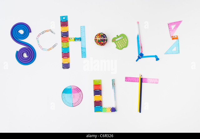 Schools Out using childrens school stationary on white background - Stock Image