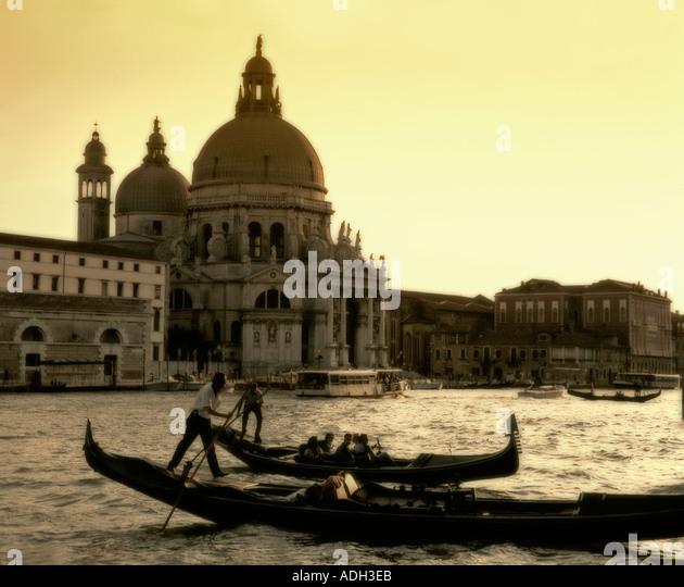 Italy Venice Riva degli Schiavoni Canale Grande Riva degli Schiavoni Gondola Santa Maria della Salute church gondola - Stock Image