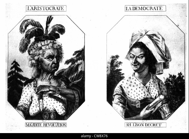The aristocrat: Damned Revolution - Democrat: Ah right decree - Stock Image