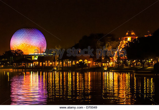 World Showcase Lagoon with Spaceship Earth (geosphere) in background, Epcot, Walt Disney World, Orlando, Florida - Stock Image