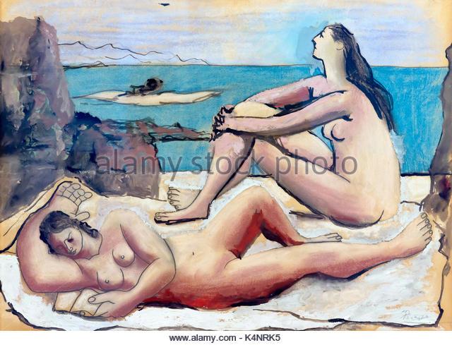 Three Bathers, by Pablo Picasso, 1920, Solomon R. Guggenheim Museum, Manhattan, New York City, USA, North America - Stock Image