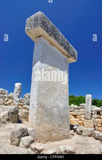 Taula at Torralba d'en Salord prehistoric site, Menorca, Balearic Islands, Spain - Stock Image