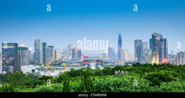 Shenzhen, China civic center city skyline. - Stock Image