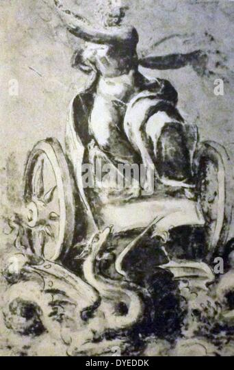 Goddess Seated on a Chariot - Stock Image