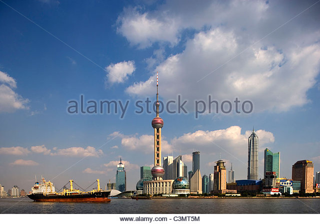 China. Shanghai. Area called: The Bund, along the Huangpo River. Pudong skyline. - Stock Image