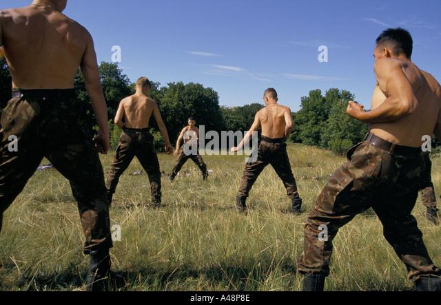 crimea the ukrainian national guard training camp  june 1994 - Stock Image