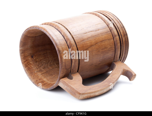Wooden mug isolated on white background - Stock Image