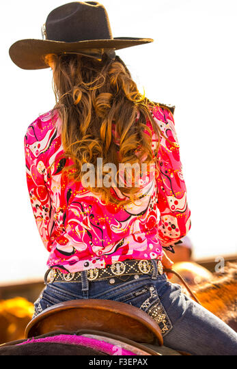 Rodeo's, Bruneau Round-Up, People, Rodeo Queen saddled up on her horse. Bruneau, Idaho, USA - Stock Image