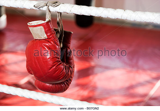 Close up of boxing gloves on the ropes of a boxing ring - Stock Image