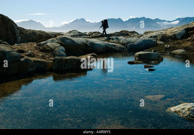 A pool on Angmagssalik Island, above Sermilik Fjord, East Greenland - Stock Image