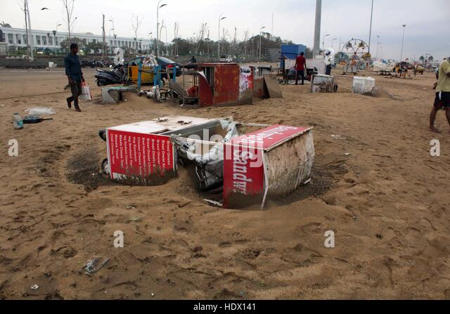 Foods stall damaged due to Cyclone Vardah at Marina beach, in Chennai, India on December 13, 2016.  Nearly 20,000 - Stock-Bilder