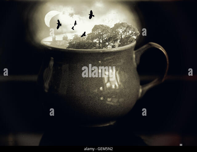 Photoshop manipulation in a cup - Stock Image
