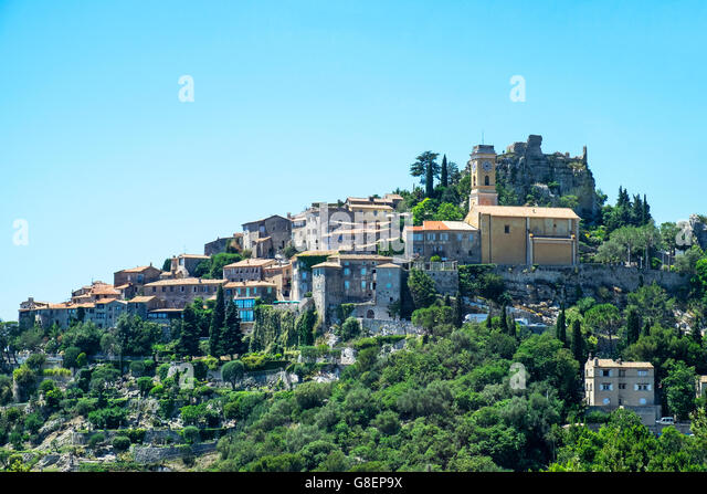 The 12th century fortified village of Eze high in the Alpes-Maritimes region on the Cote d'Azur in southeast - Stock Image